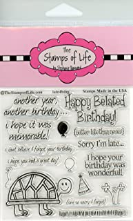 Happy Belated Birthday Stamps for Card-Making and Scrapbooking Supplies by The Stamps of Life - Late4Bday