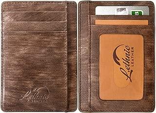 Slim Wallet RFID Front Pocket Minimalist Wallet With ID Window - Genuine Leather