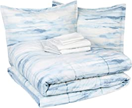 Amazon Basics 8-Piece Comforter Bedding Set, Full / Queen, Blue Watercolor, Microfiber, Ultra-Soft
