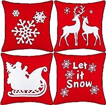 Alibi Christmas Series Cushion Cover Cotton Linen 18 x 18 45cm x 45cm,Set of 4-Christmas with Black Piping NO.4