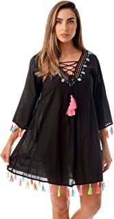 Riviera Sun Swimsuit Beach Cover Up for Women with Neon Tassels and Embroidery