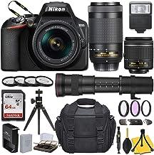 $589 » Nikon D3500 DSLR Camera with AF-P DX NIKKOR 18-55mm f/3.5-5.6G VR + AF-P DX NIKKOR 70-300mm f/4.5-6.3G ED + 420-800mm Telephoto Zoom Lens and Basic Travel Kit