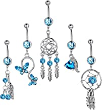 ORAZIO 5PCS 14G Belly Button Ring for Women Stainless Steel Dangle Navel Rings Screw Body Piercing