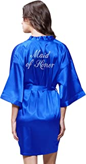 Turquaz Linen Satin Kimono Rhinestone Maid of Honor Robe