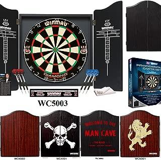 Winmau Professional Darts Set (Deluxe Black Cabinet, Diamond Plus Dartboard and 6 Darts)