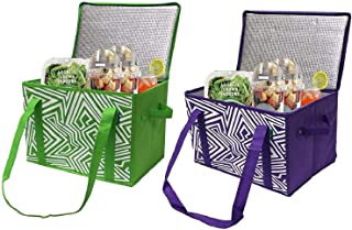 Earthwise Insulated Reusable Grocery Bag Shopping Box with Reinforced Bottom Panel and Zipper Top Lid with Extra Side Hand...