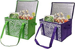 Earthwise Insulated Reusable Grocery Bag Shopping Box with Reinforced Bottom Panel and..