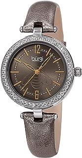 Burgi Womens Quartz Watch, Analog Display and Leather Strap BUR235GY