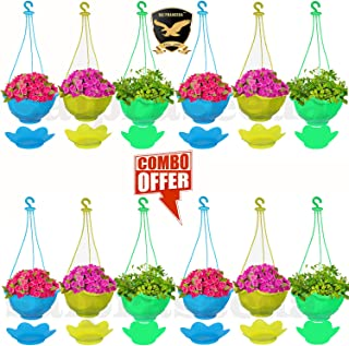 SAI PRASEEDA Hanging pots for Plants Balcony (Pack of 12`s) Multi Colour with Water Tray