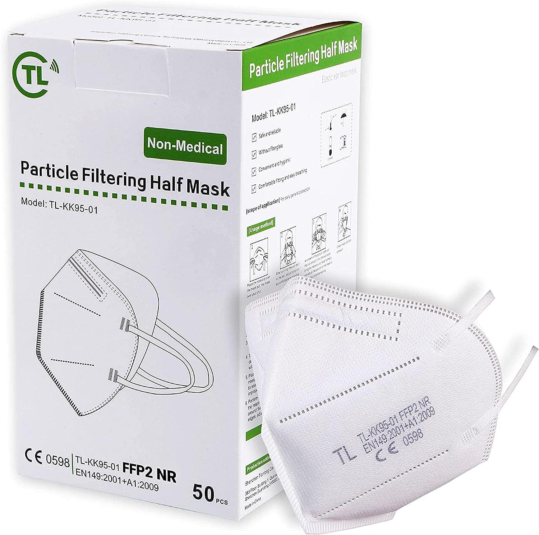 TL 50X Máscara FFP2 NR certificada CE EN149 – Máscara de protección transpirable – Alta filtración 5 capas – Stock France