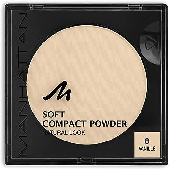 Manhattan Soft Compact Powder, Helles Kompakt Puder mit Puderquaste für einen matten, ebenmäßigen Teint, Farbe Vanille 8, 1 x 9g