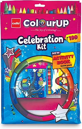 Cello ColourUP Celebration Kit - Mega Gift Pack | 15 Oil Pastels | Sketch Pens | 12 Jumbo Wax Crayons | 8 Assorted Items | Free Activity Book |... 1