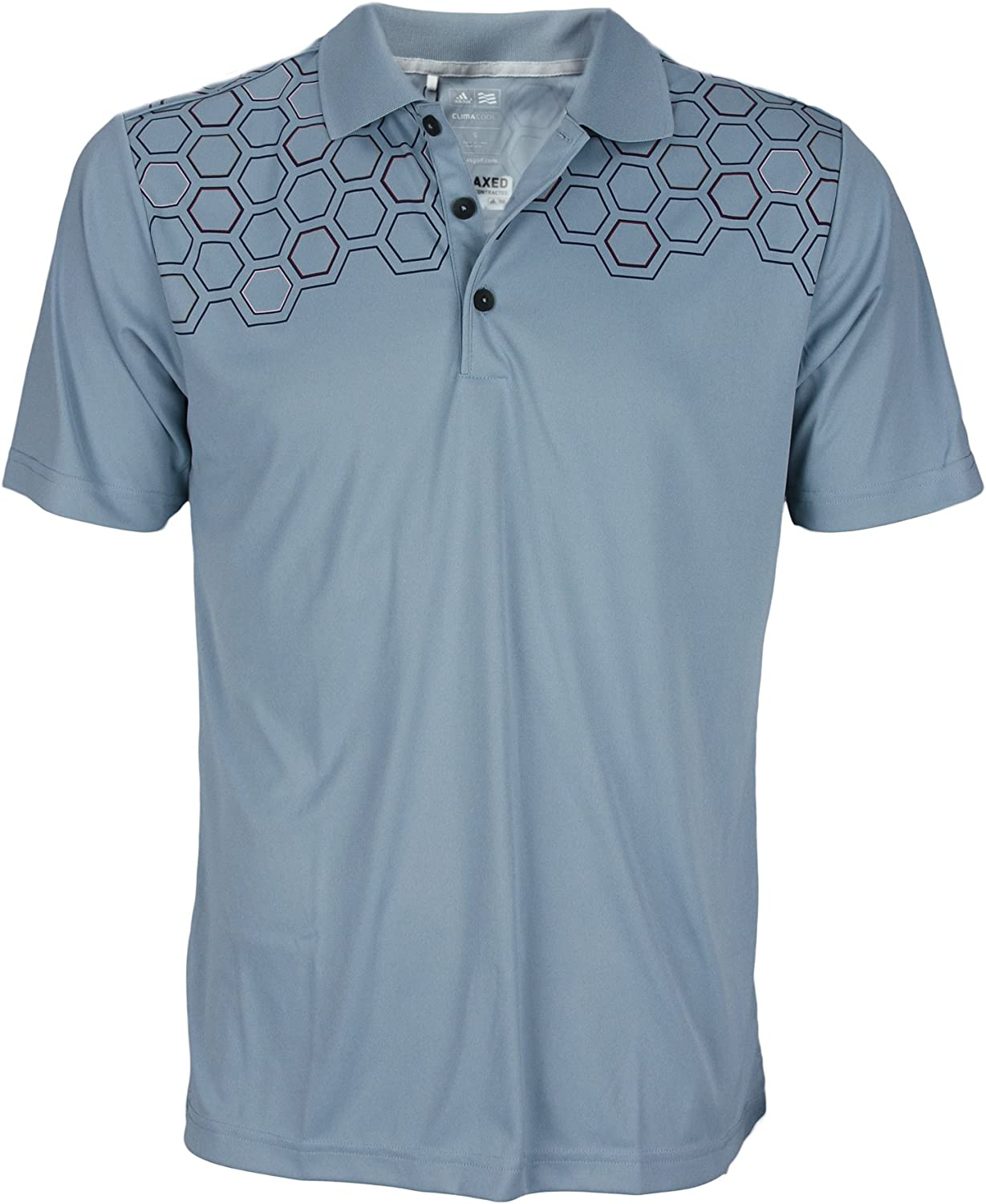 adidas Mens Climacool Hexagon Chest Print Relaxed Polo Shirt