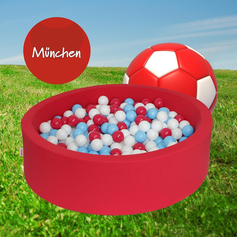 Snugo Kinder Bllebad MüNCHEN in rot (Made in Germany Bayern) mit über 350 Bllen a  7 cm - Spielbad und Ballpool für Mdchen und Jungen