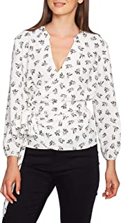 1.STATE Women's Long Sleeve Wrap Front Delicate Sprigs Blouse