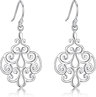 Sterling Silver Filigree Dangle Drop Chandelier Earrings For Sensitive Ears By Renaissance Jewelry