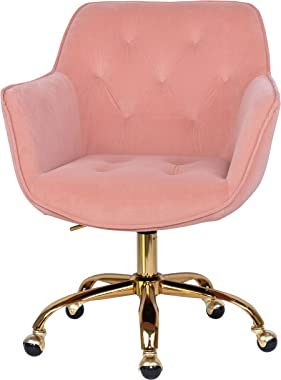 MOJAY Home Office Desk Chairs Velvet Computer Chair with Armrest and Backrest 360° Swivel Vanity Chair Height Adjustable Pink