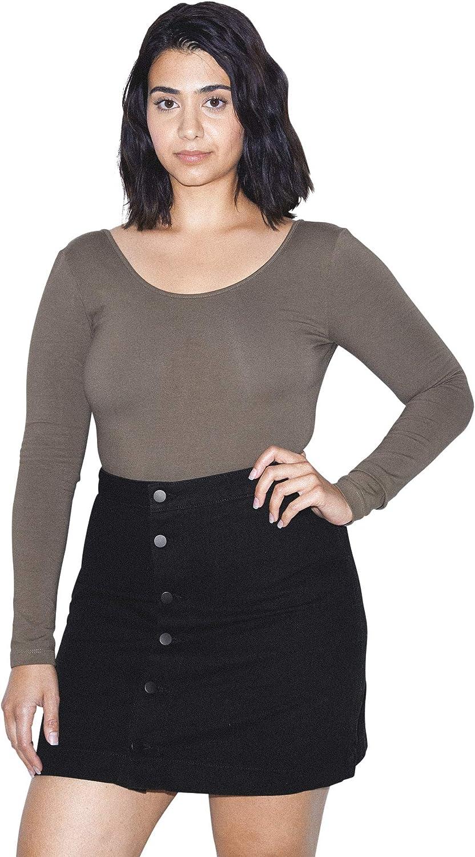 American Apparel Women's Denim Button Front A-line Mini Skirt
