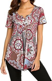5aff30a4cae40 Women s Paisley Printed Long Sleeve Henley V Neck Pleated Casual Flare Tunic  Blouse Shirt