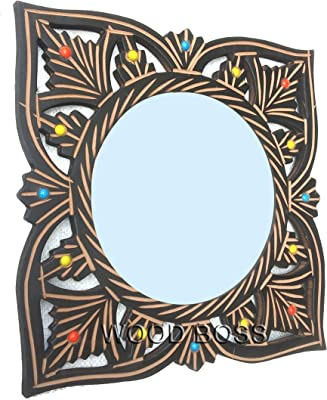 Wood Boss Decorative Wooden Carved Wall Mirror with Colorful Stone   Decorative Square Floral Carved Mirror   Wall Decor Size 12x12 Inch