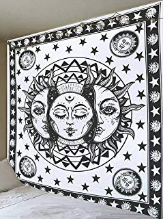 Jaipur Handloom Black and White Tapestry Sun Moon Tapestry Wall Hanging Psychedelic Celestial Indian Sun Hippie Tapestry Wall Hanging Throw Hippie Curtain (89X85 inches Approx)