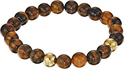 8mm Natural Tiger Eye w/ Gold Bracelet