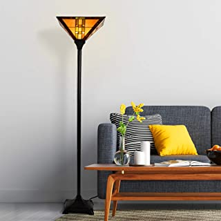 Lavish Home 72-Tiff-7 Tiffany Style Floor Lamp - Mission Design Art Glass Torchiere Lighting LED Bulb Included-Vintage Look Handcrafted Accent Decor, Multi-Colored