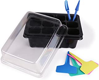 LOVEDAY 10-Pack Seed Starter Trays 120 Cells Seedling Tray Plant Grow Kit with Lid and Base for Seed (12-Cell Per Tray) 10 Plant Tags