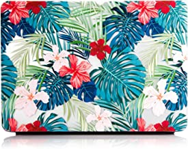 One Micron MacBook Air 13 inch Cover Case, Matte Soft Plastic Hard Case for MacBook Air 13''(A1369/A1466)-Tropical Palm Leaves with Red Flowers
