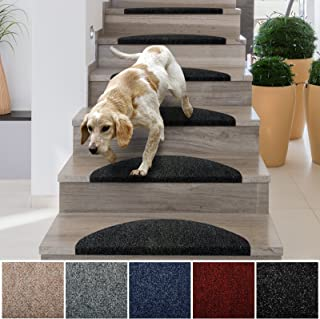 casa pura Stair Treads | Non-Slip Indoor Stair Protectors | Set of 15 Modern Step Mats for Hard Floor Staircase | Anthracite - 10