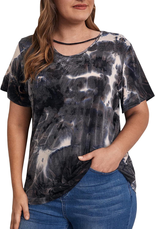 SOLY HUX Women's Plus Size Tie Dye Short Sleeve Tee Choker Neck T Shirt Top Multicoloured 4XL