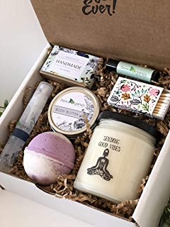 Get Well Soon Gift Box - Good Vibes Spa Kit - Scented Soy Candle, Bath Bomb, Soap Set