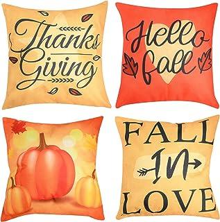 Beeager Fall Pillow Covers 4 Packs, 18x18 Inches Pumpkin Harvest Autumn Throw Pillowcases, Thanksgiving Pumpkin Theme Farm...