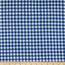 Techno Scuba Knit Gingham Navy Fabric by the Yard