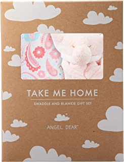 Angel Dear Swaddle and Blankie Gift Set, Elephant Paisley with Pink Elephant