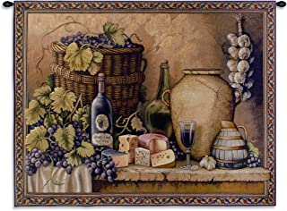 Wine Tasting | Woven Tapestry Wall Art Hanging | Grapes Wine and Cheese Still Life | 100% Cotton USA Size 52x40