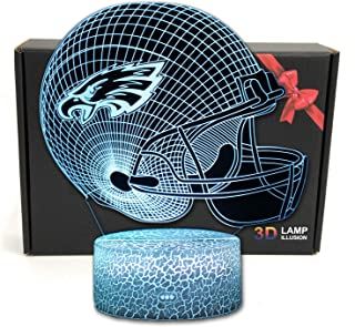 Sponsored Ad - Deal Best Football Helmet 3D Optical Illusion LED USB Night Light Table Lamp Gifts for Kids, Boys, Teens, M...