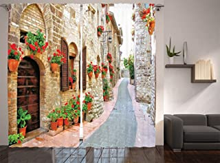 Ambesonne Tuscan Decor Collection, Porch Decorated with Flowers and Stone Roads in Small Town in Italy Photo, Window Treatments, Living Room Bedroom Curtain 2 Panels Set, 108 X 90 Inches, Peru Red