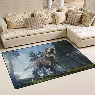 Yochoice Non-slip Area Rugs Home Decor, Vintage Rex Roaring Dinosaur Blue Sky Forest Floor Mat Living Room Bedroom Carpets Doormats 60 x 39 inches