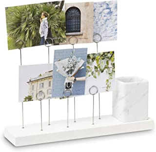 Umbra, White Gala, Multi Built in Planter or Pen Holder for Desk, Non Picture Frame with 7 Photo Clips