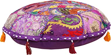 Indian-Shoppers Round Ottomans Seat Cover Handmade Embroidery Round Cushion Cover Bohemian Floor Pillows Case Bohemian Footst