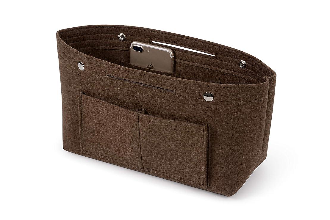 昼食ぬいぐるみギャングバッグインバッグ Bag in Bagバッグインバッグフェルト レディース メンズ バッグの整理整頓 収納便利 インナーバッグ 自立 軽量 大容量 ダークブラウン Msize