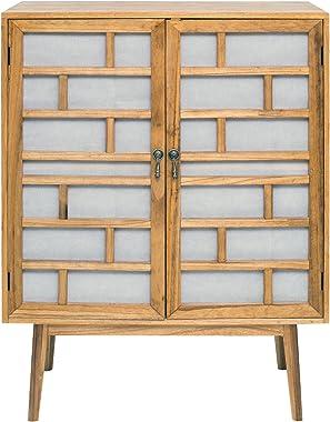 Rebecca Mobili Buffet Salon, Armoire Salon, 2 Portes, Bois, Blanc Marron, Moderne – Dimensions: 120 x 90 x 45 cm (HxLxL) - Ar