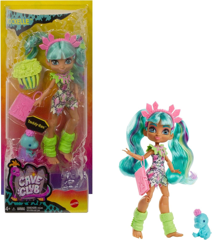 Cave Club Rockelle Muñeca con accesorios de juguete y de moda, incluye mascota (Mattel GWT25)