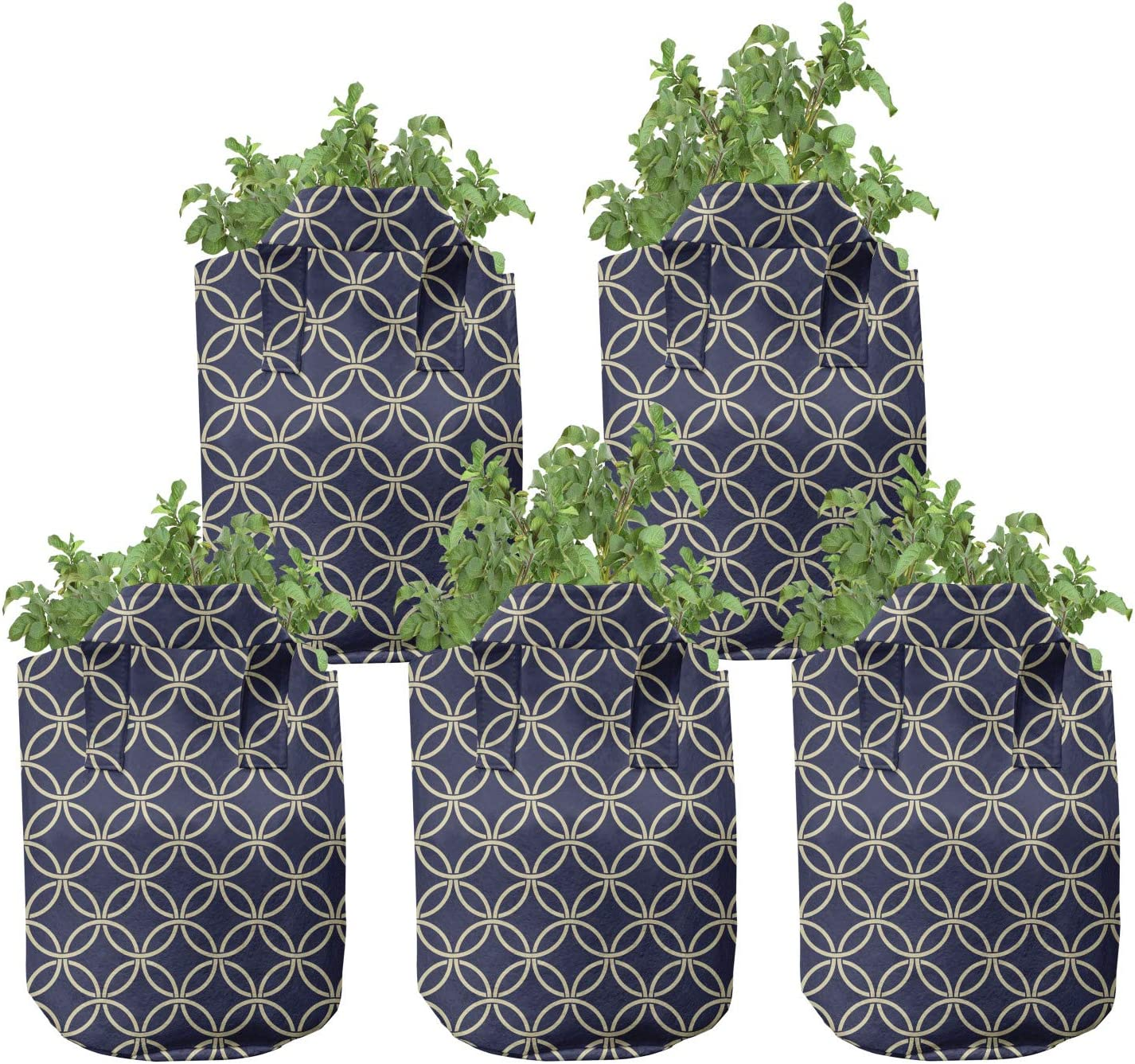 Latest item Ambesonne Nashville-Davidson Mall Navy Blue Grow Bags Hea Round 5-Pack Shapes Oriental