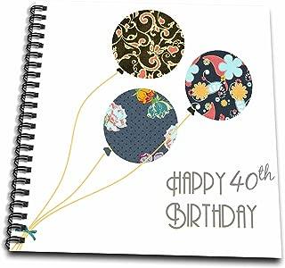 3dRose Happy 40th Birthday-Modern Stylish Floral Balloons. Elegant Black Brown Blue 40 Year Old Bday-Drawing Book, 8 by 8-inch (db_161981_1)
