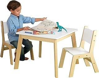 KidKraft- Mesa con 2 sillas de madera y blanca, para sala de
