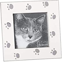 Cat Paw Prints Bright Polished Silver Tone Finish 4.5 x 4.5 Zinc Photo Frame