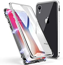 iPhone XR Case, ZHIKE Magnetic Adsorption Case Front and Back Tempered Glass Full Screen Coverage One-Piece Design Flip Cover [Support Wireless Charging] for Apple iPhone XR (Clear White)