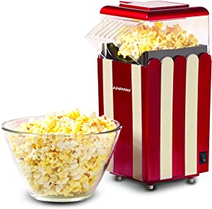 EGOFINE Popcorn Poppers Machine, Home Electric Popcorn Maker Hot Air 1200W with Measuring Cup, ETL Certified, BPA Free, No Oil, Red